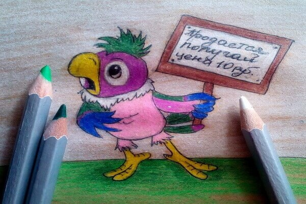 Рисование героев мультфильмов поэтапно - Попугай Кеша