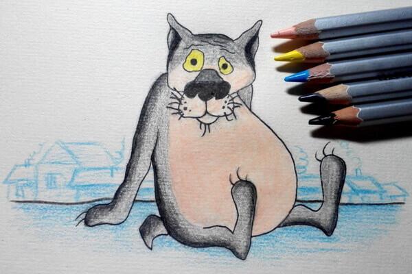 Рисование героев мультфильмов поэтапно - Волк из Жил-был пёс