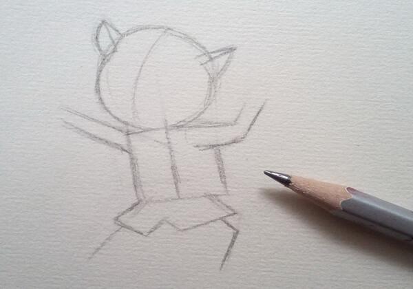 Как нарисовать кота в сапогах карандашом поэтапно - шаг 2