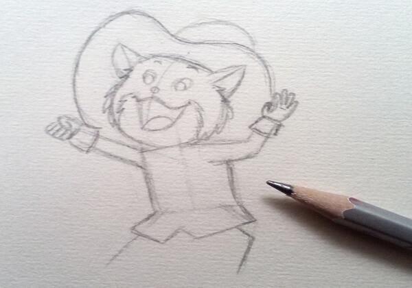 Как нарисовать кота в сапогах карандашом поэтапно - шаг 4