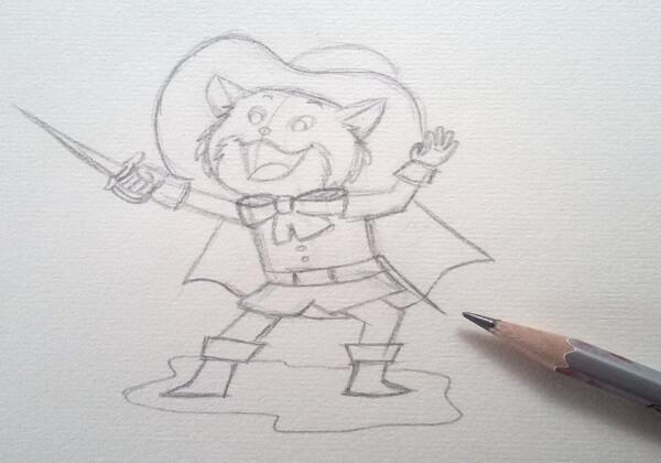 Как нарисовать кота в сапогах карандашом поэтапно - шаг 6