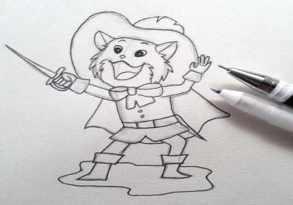 Как нарисовать кота в сапогах карандашом поэтапно - шаг 7