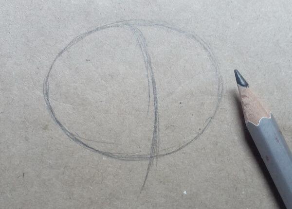 Поэтапный рисунок забавной совы - шаг 1