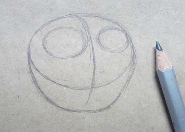 Поэтапный рисунок забавной совы - шаг 2