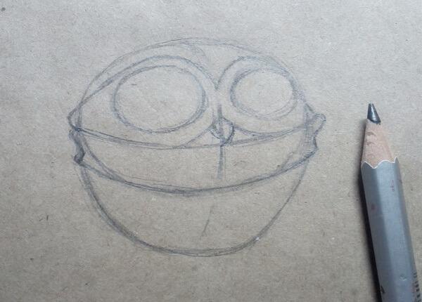 Поэтапный рисунок забавной совы - шаг 3