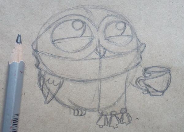Поэтапный рисунок забавной совы - шаг 5
