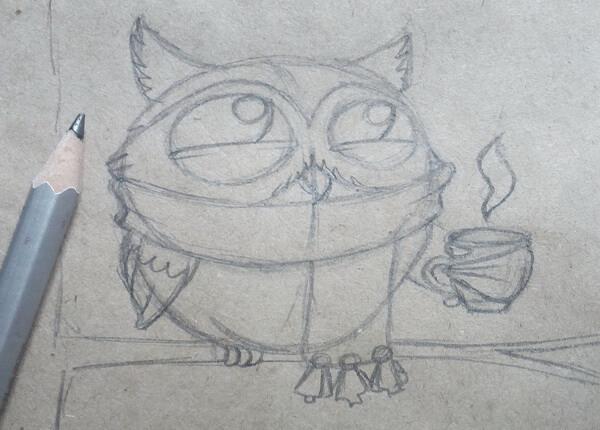 Поэтапный рисунок забавной совы - шаг 6