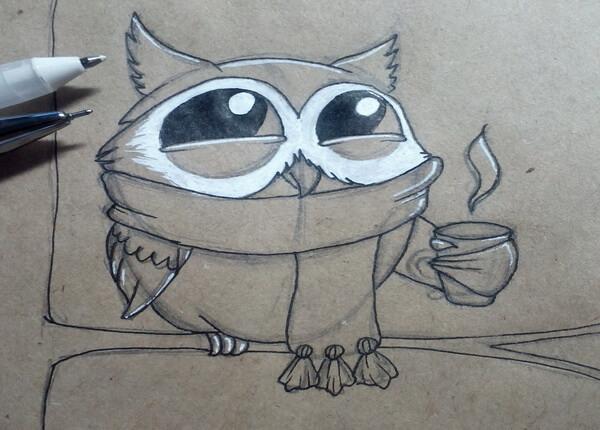 Поэтапный рисунок забавной совы - шаг 7