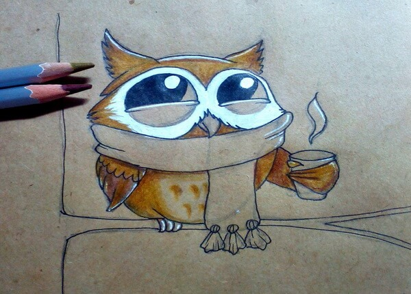 Поэтапный рисунок забавной совы - шаг 8