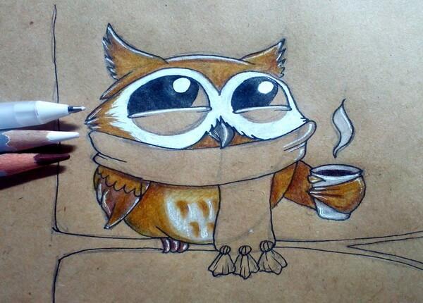 Поэтапный рисунок забавной совы - шаг 9