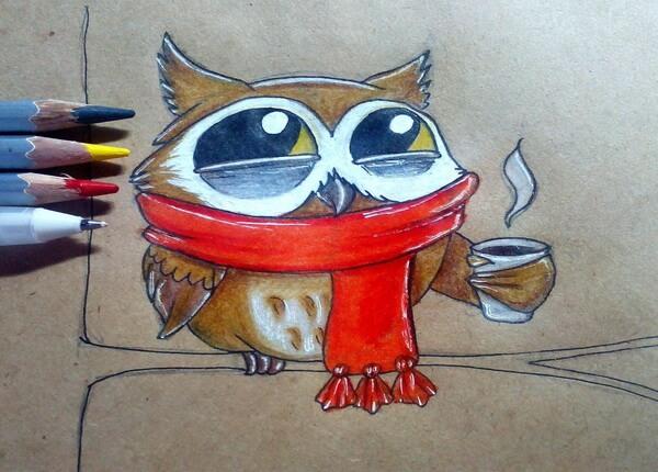Поэтапный рисунок забавной совы - шаг 10