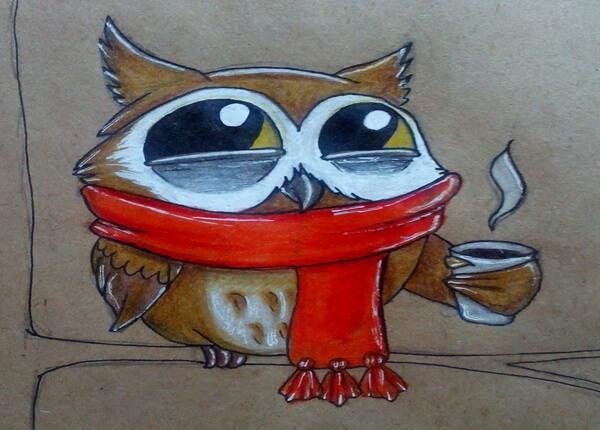Поэтапный рисунок забавной совы - готовая работа