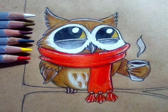 Поэтапный рисунок забавной совы