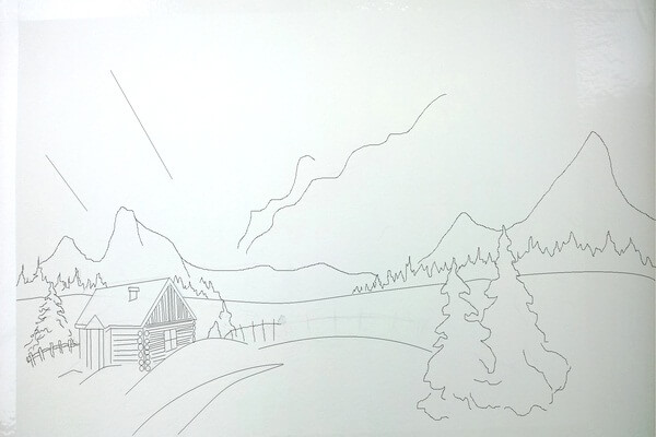 Как нарисовать северное сияние акварелью - шаг 1