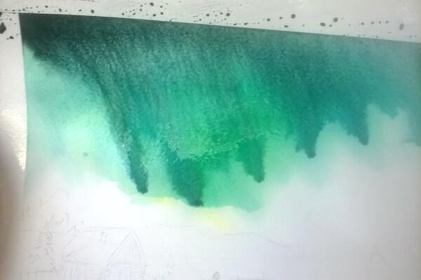 Как нарисовать северное сияние акварелью - шаг 5