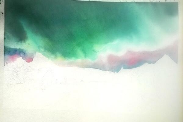 Как нарисовать северное сияние акварелью - шаг 6