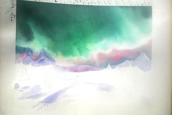 Как нарисовать северное сияние акварелью - шаг 7