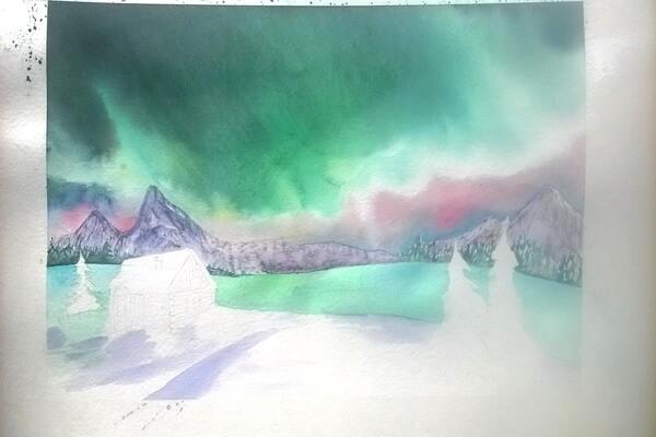 Как нарисовать северное сияние акварелью - шаг 8