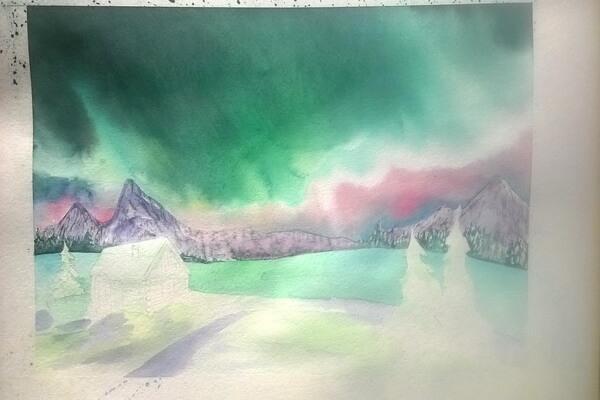 Как нарисовать северное сияние акварелью - шаг 9