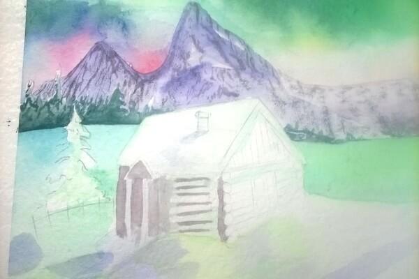 Как нарисовать северное сияние акварелью - шаг 10
