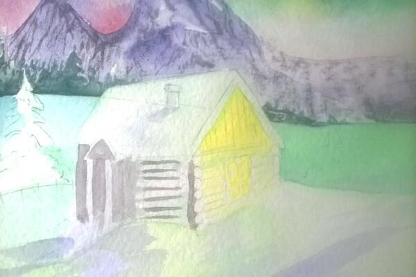 Как нарисовать северное сияние акварелью - шаг 11