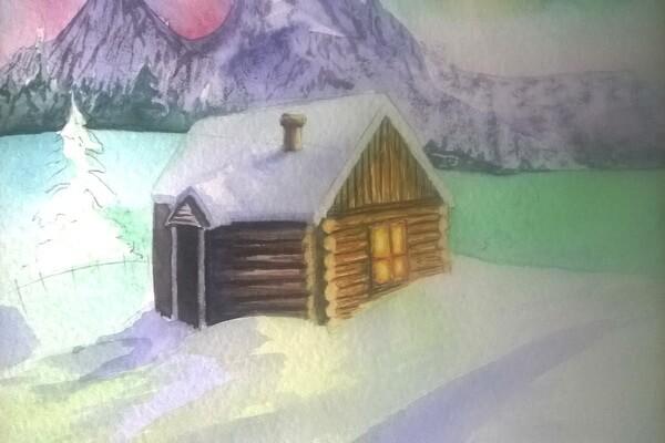 Как нарисовать северное сияние акварелью - шаг 12