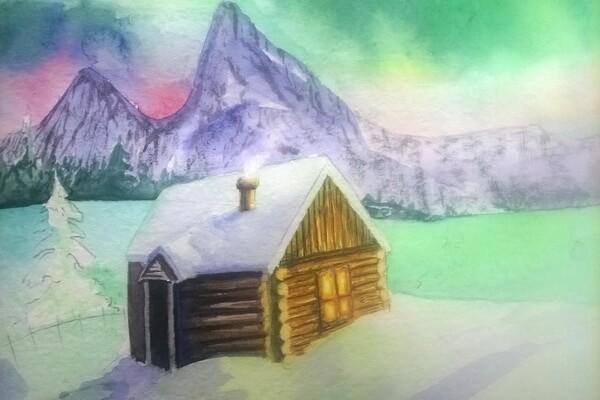 Как нарисовать северное сияние акварелью - шаг 13