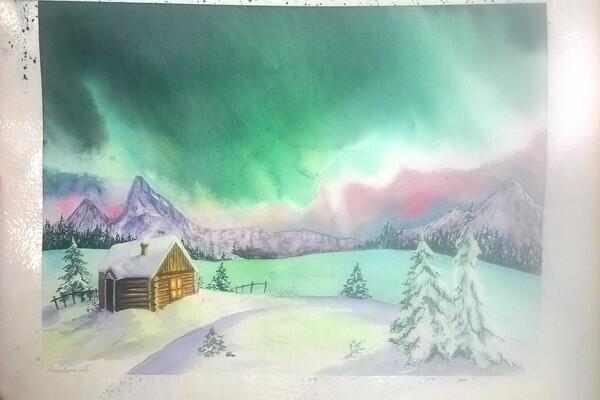 Красивый рисунок северное сияние акварельными красками - пошаговый урок рисования