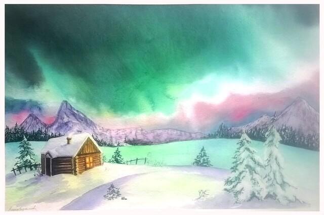 Северное сияние акварелью - пошаговый урок рисования для начинающих