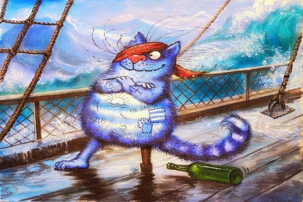 Работы Ирины Зенюк с синими котами