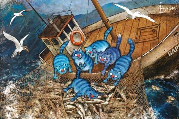 Акварели Ирины Зенюк с синими котами