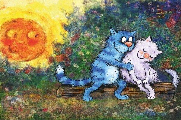 Открытки Ирины Зенюк с влюблёнными котами