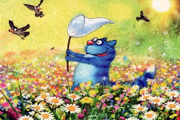 Забавные синие коты Ирины Зенюк