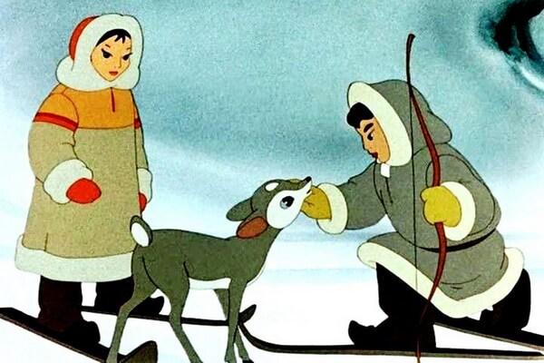Советские мультфильмы про зиму - «В яранге горит огонь» (1956)