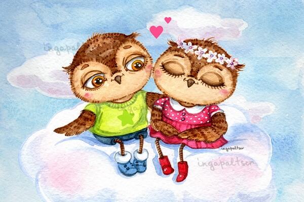 Влюблённые совушки Инги Пальцер