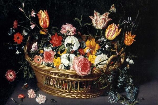 Тюльпаны в живописи - Ян Брейгель Младший - «Корзина с цветами»