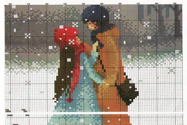 Вышивка для привлечения любви - Пара влюблённых (схема вышивки)