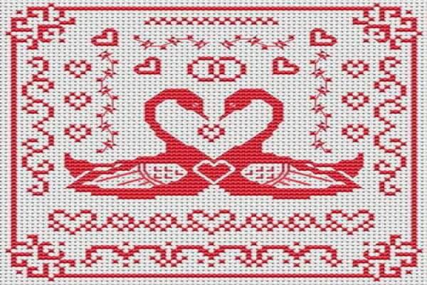 Вышивка для привлечения любви - Лебединая пара (схема вышивки)