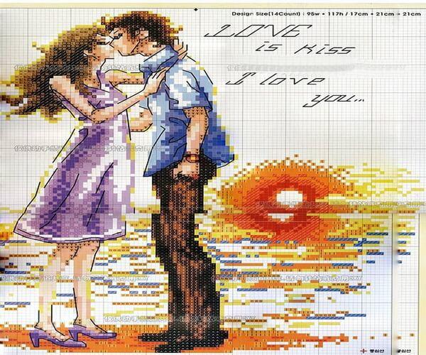 Вышивка для привлечения любви - Поцелуй (схема вышивки)