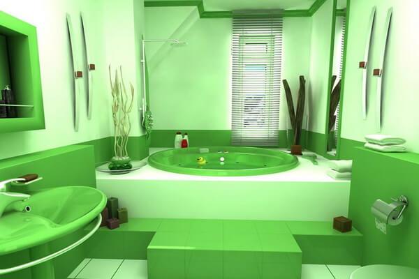 Зелёный цвет в дизайне интерьера ванной комнаты